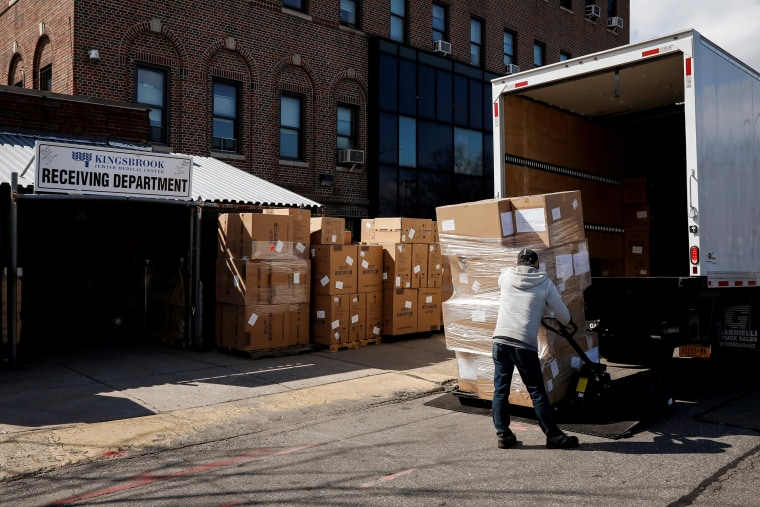 Image: Boxes of N95 masks and Personal Protective Equipment are stacked outside Kingsbrook Jewish Medical Center during the outbreak of the coronavirus disease (COVID-19) in Brooklyn