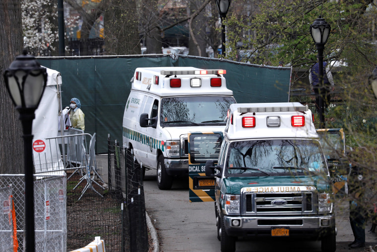 Image: Ambulances are seen lined up outside The Samaritan's Purse Emergency Field Hospital in Central Park in Manhattan during the outbreak of the coronavirus disease (COVID-19) in New York City