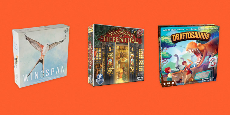 The best unique and recent board games and tabletop games include category winners Wingspan (left), The Taverns of Tiefenthal (center) and Draftosaurus. We asked expert gamers about other options and share tips on how to choose your next board game.