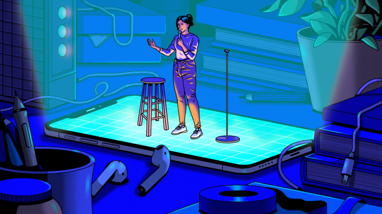Illustration of woman standing on cellphone giving a comedy performance.