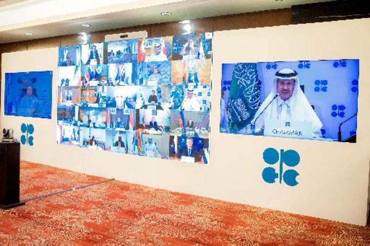 Saudi Energy Minister Prince Abdulaziz bin Salman al-Saud chairs the virtual extraordinary meeting of Organisation of the Petroleum Exporting Countries (OPEC) and non-OPEC countries, amid the novel coronavirus pandemic.