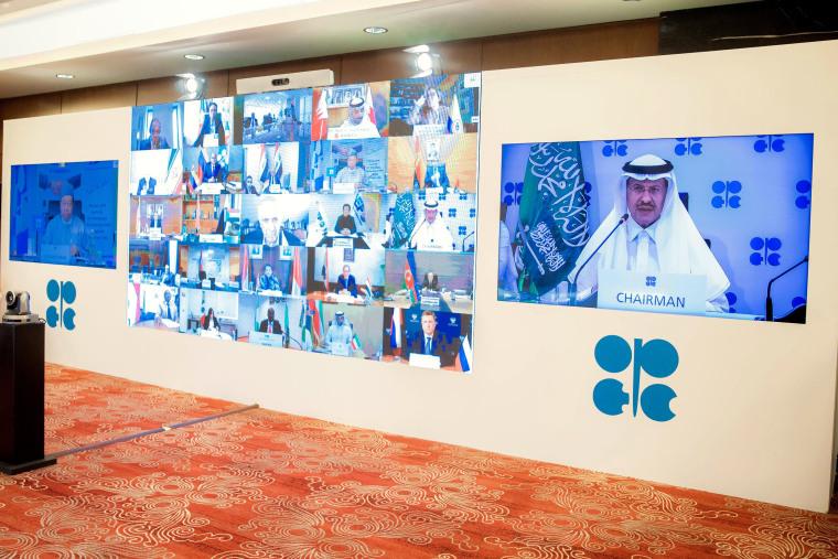 Image: Saudi Energy Minister Prince Abdulaziz bin Salman al-Saud chairs the virtual extraordinary meeting of Organisation of the Petroleum Exporting Countries (OPEC)