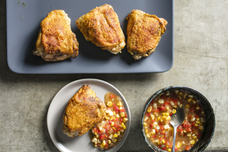 Image: Crispy-Skinned Chicken Thighs with Tangy Corn Relish