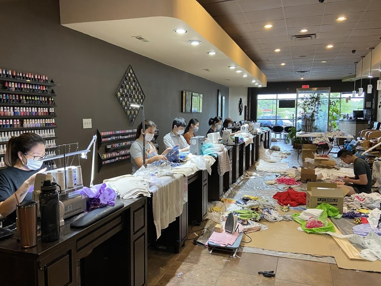 Zen Nails in Brentwood, Tenn., has converted its space into a small factory producing protective masks and gowns for local hospitals.
