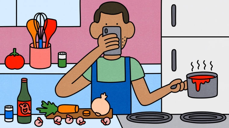 Illustration of man looking at at his phone for a recipe while cooking.