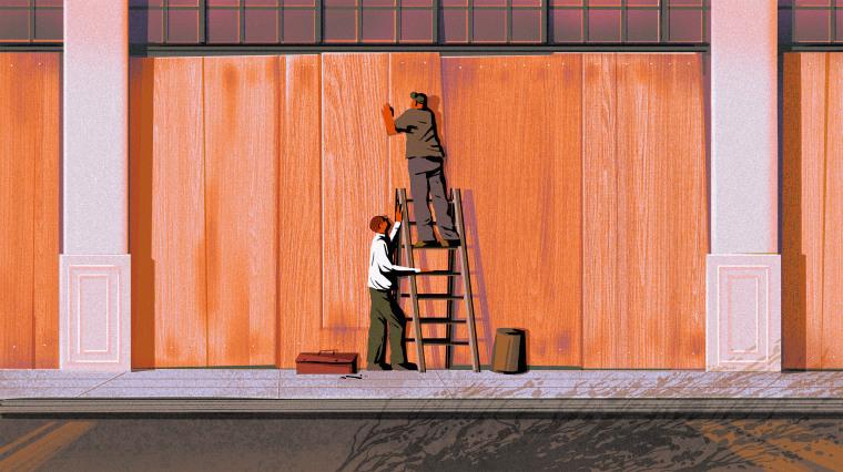 Illustration of two men boarding up a storefront.