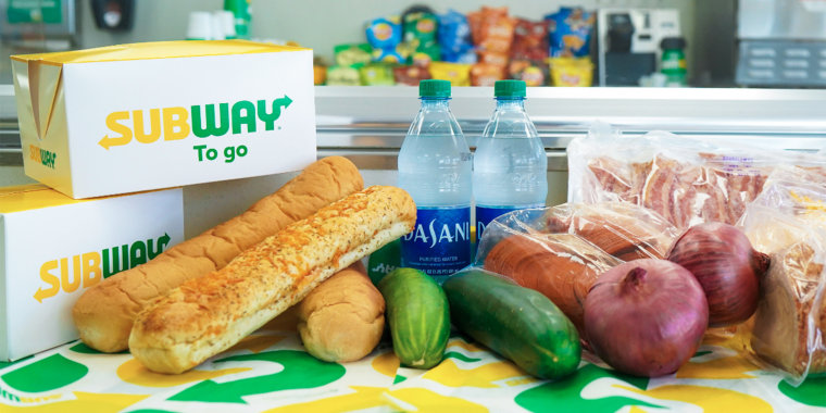 Chain restaurants like Subway, Panera Bread and more are now offering customers grocery staples like loaves of bread and produce.