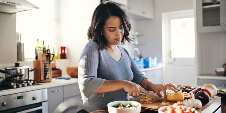 Preparing her favourite dish