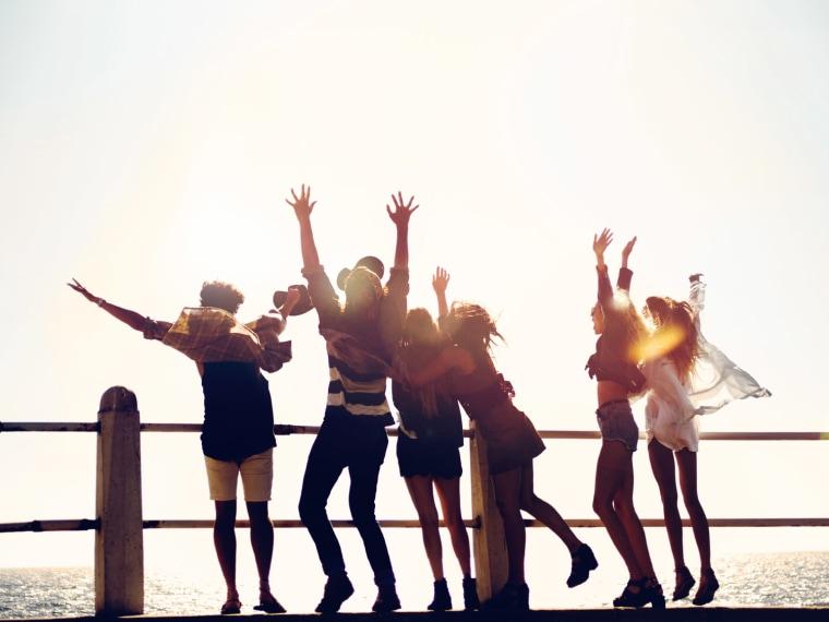 group of teens having fun