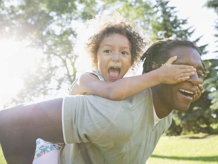 Father daughter piggyback