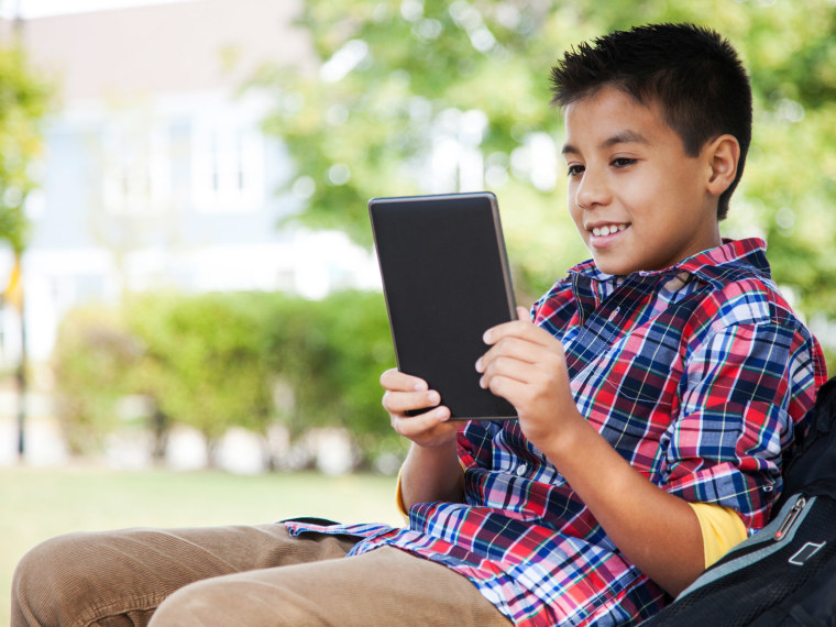 Young boy on tablet