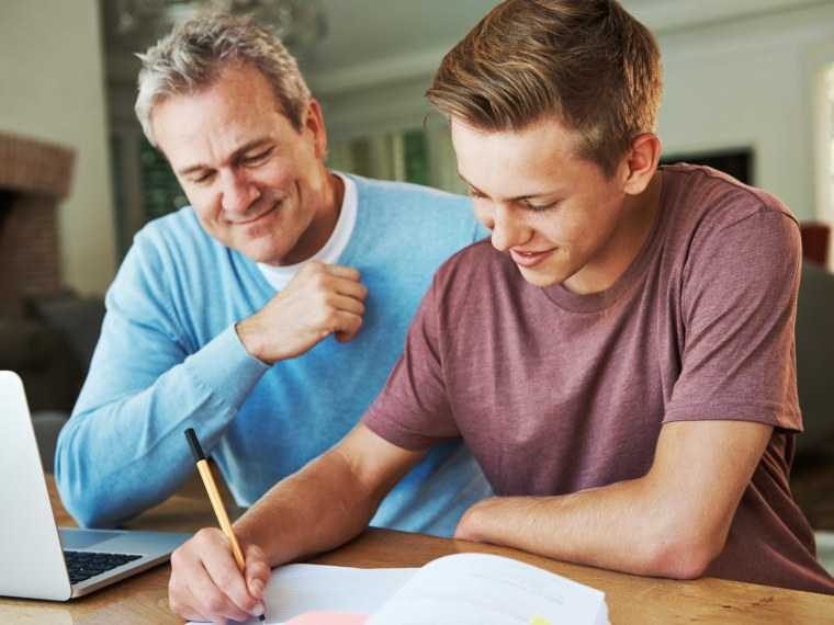 dad helping with homework