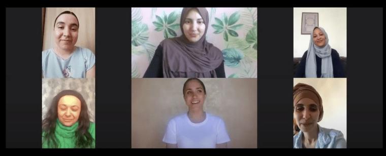 The former Meghan Markle chats with Leila Hedjem (Kitchen Manager), Cherine Mallah, Halima Al-Hudafi, Oxana Sinitsyna and Jennifer Odonkor via video conference on April 14, 2020.