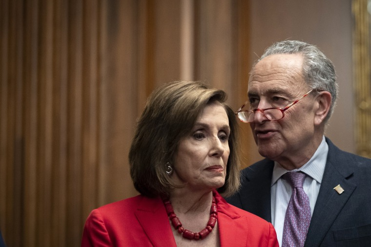 Image: nancy Pelosi, CHuck Schumer, Democratic Lawmakers Hold News Conference With Plaintiffs Of Supreme Court DACA Case
