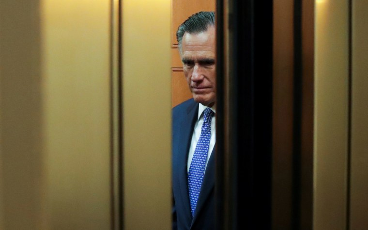 Image: Senator Mitt Romney (R-UT) arrives to cast a guilty vote during the final votes in the Senate impeachment trial of President Donald Trump on Capitol Hill
