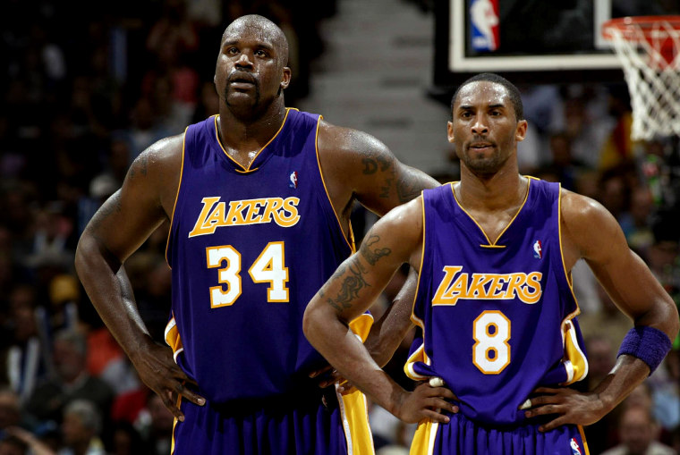 Image: Shaquille O'Neal and Kobe Bryant during a Los Angeles Lakers game against the Minnesota Timberwolves in 2004.