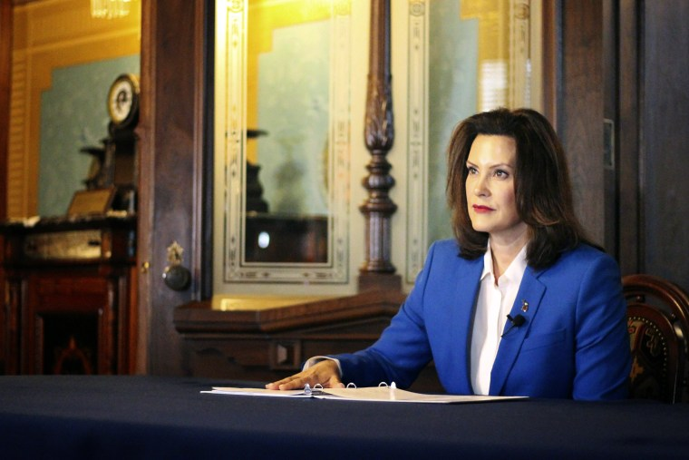Image: Michigan Governor Gretchen Whitmer announces a stay at home order to combat coronavirus on March 23, 2020.