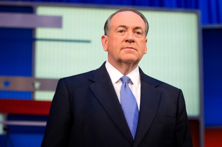 Image: Mike Huckabee at a Republican presidential debate in Cleveland, Ohio, in 2015.