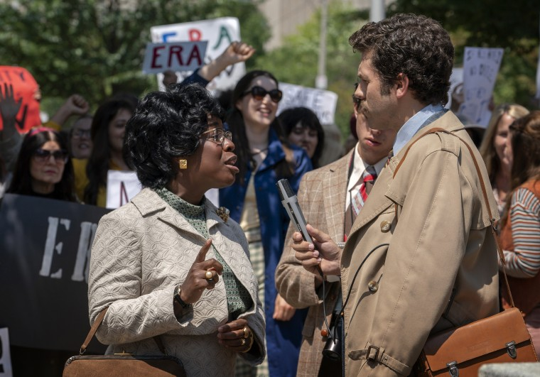 """Image: Uzo Aduba as Shirley Chisholm in a scene from the FX miniseries \""""Mrs. America.\"""""""