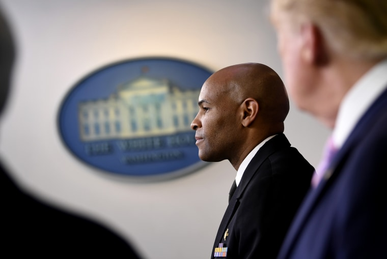 Image: Vice Admiral Jerome Adams, the Surgeon General, attends a coronavirus task force briefing at the White House on April 10, 2020.