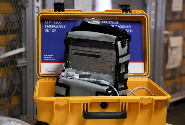 Image: FILE PHOTO: A ventilator is seen at the New York City Emergency Management Warehouse