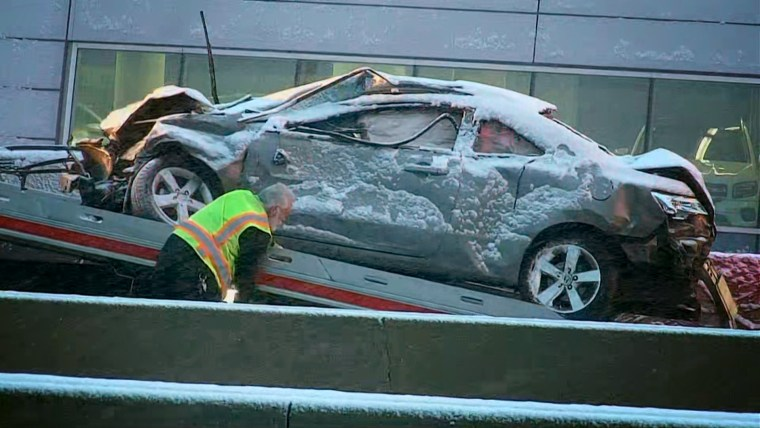 Image: Approximately 50 cars were involved in a pile-up crash in Chicago on April 15, 2020.