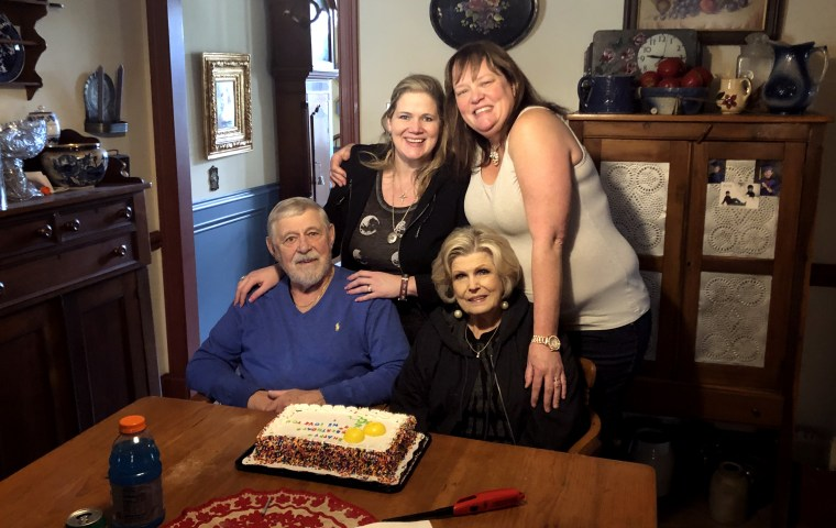 Image: Frank Carter celebrated his 82nd birthday with his wife and daughters this past February. His daughter, Nicole, top right, noticed signs of cognitive problems in Carter about a week before he died from COVID-19.