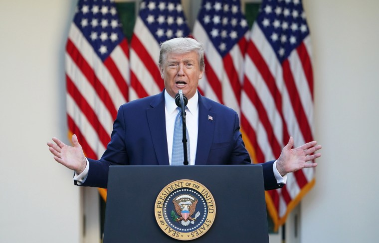 Image: President Donald Trump gestures as he speaks during the daily briefing on the novel coronavirus, which causes COVID-19, in the Rose Garden of the White House