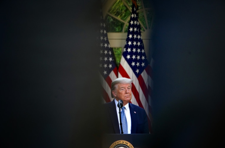 Image: President Donald Trump speaks during the daily briefing on coronavirus at the Rose Garden of the White House on April 15, 2020.