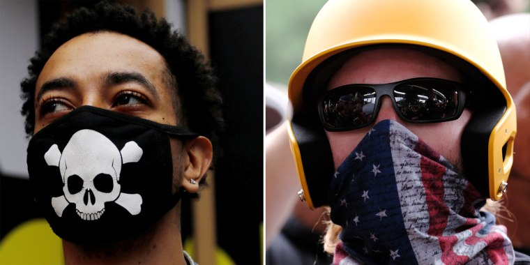 A man with a protective mask during the coronavirus outbreak in New York City and a member of the Proud Boys in Portland, Ore.