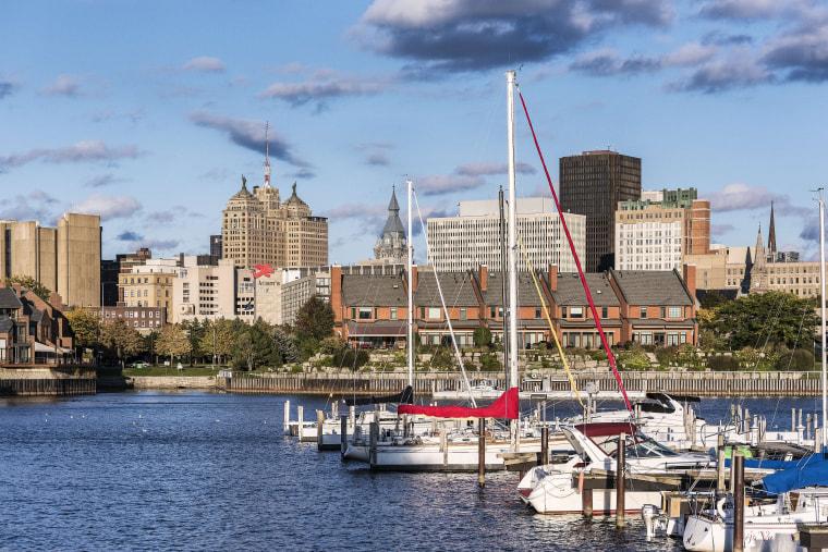 Image: Basin Marina Park and city skyline