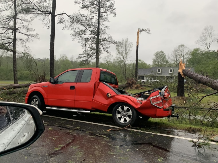 Storms hit parts of Alabama on Sunday as forecasters warned of possible tornadoes and flooding in the South. A pickup truck in Alexander City, Alabama, was damaged.