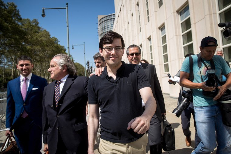 Image: Former pharmaceutical executive Martin Shkreli walks with lead defense attorney Benjamin Brafman after the jury issued a verdict at the U.S. District Court for the Eastern District of New York, Aug. 4, 2017 in the Brooklyn borough of New York City.