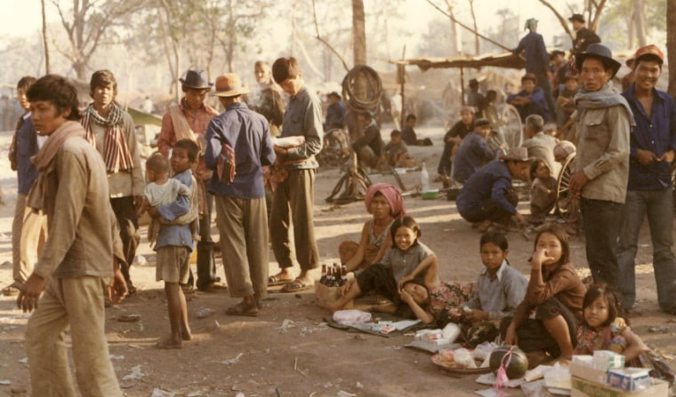 Image: Cambodian refugees in one of the border encampments established in 1979 on the Thai-Cambodian border.