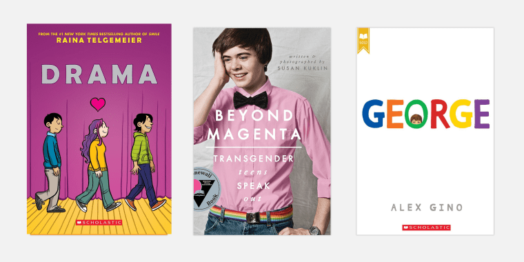 "Image: ""Drama\"" by Raina Telgemeier; \""Beyond Magenta\"" by Susan Kuklin; and \""George\"" by Alex Gino."
