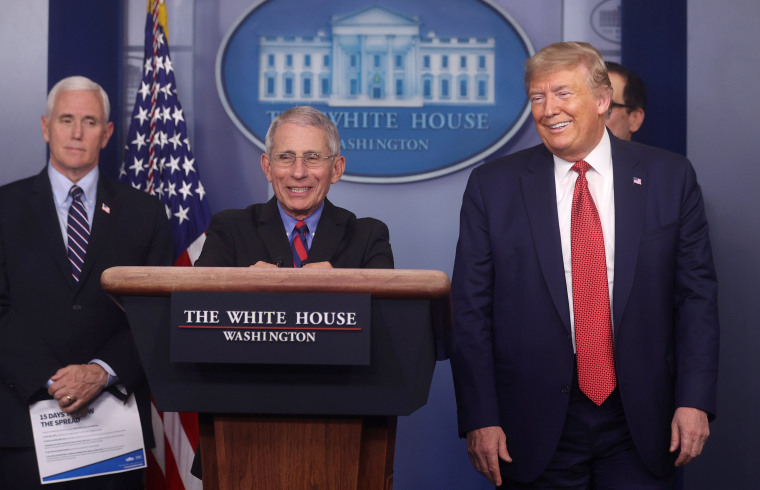 Image: Dr. Anthony Fauci addresses daily coronavirus briefing with President Trump at the White House in Washington