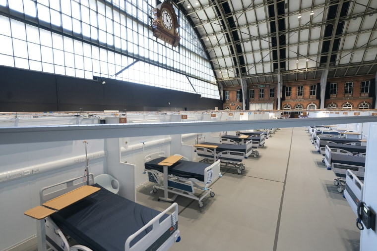 Image: A view of beds on a ward at the Nightingale Hospital North West set up in the Manchester Central Convention Complex in Manchester