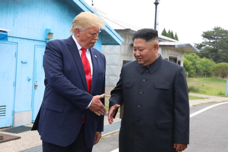 Image: North Korean leader Kim Jong Un and President Donald Trump inside the demilitarized zone (DMZ) separating the South and North Korea on June 30, 2019 in Panmunjom, South Korea.