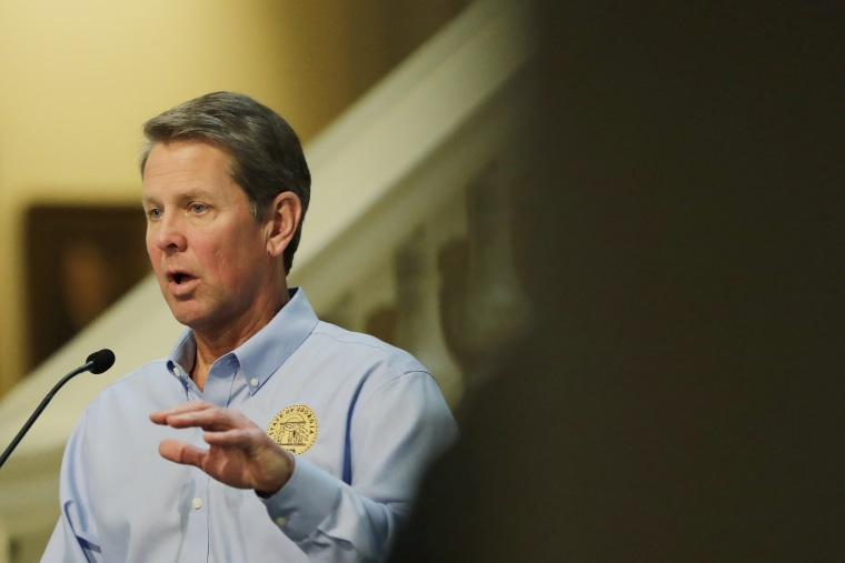 Georgia Gov. Brian Kemp speaks about the coronavirus at the Capitol on April 8, 2020, in Atlanta.