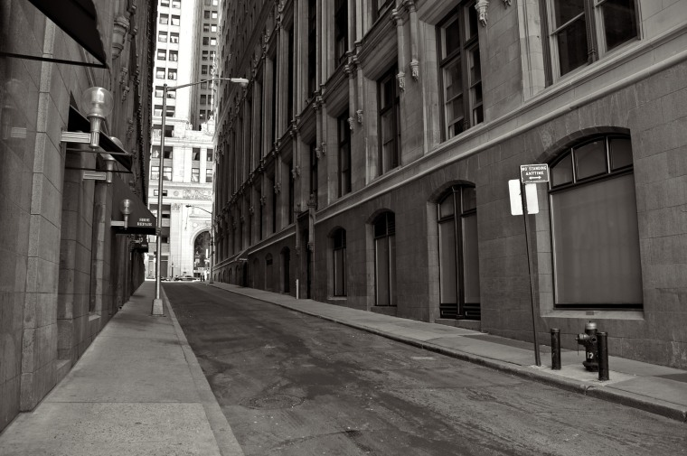 One of Manhattan's narrow Financial District streets in New York.