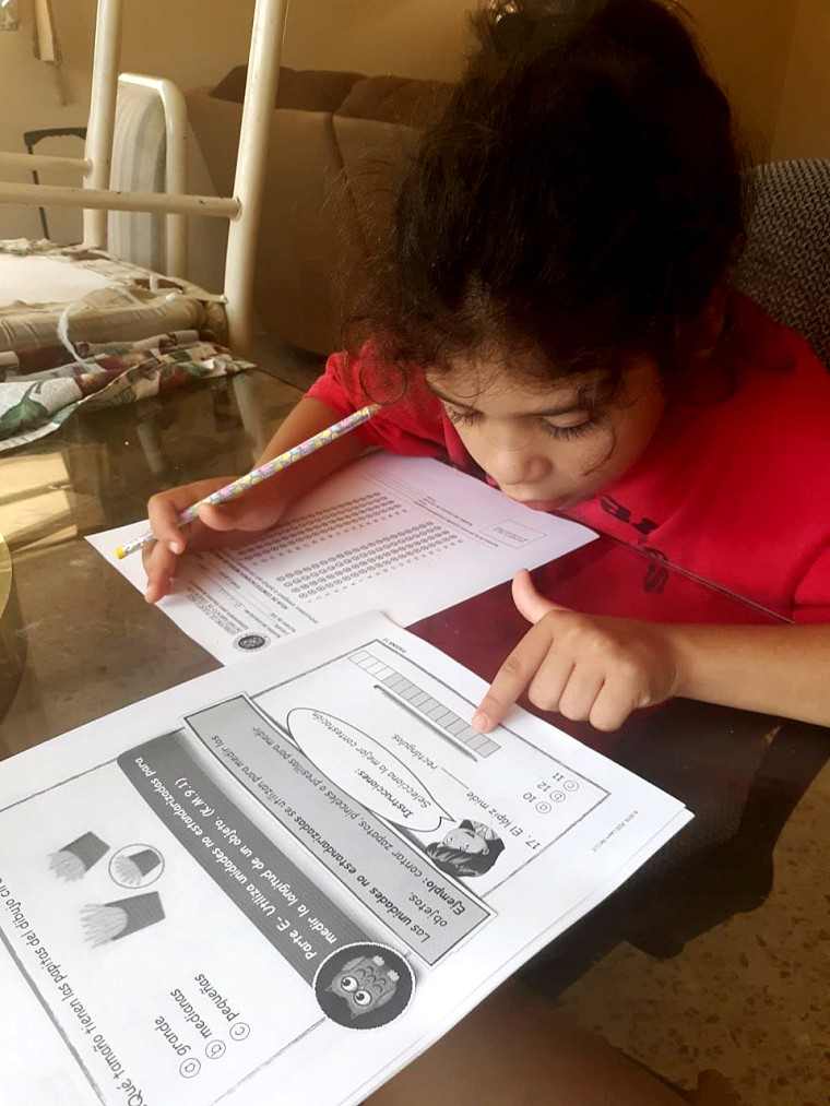 Elementary school students in San Juan, Puerto Rico use modules to learn at home as schools remain closed due to coronavirus.