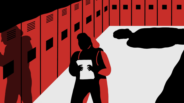Image: A young girl walks down a hallway of school lockers as a shadowy figure approaches from behind.