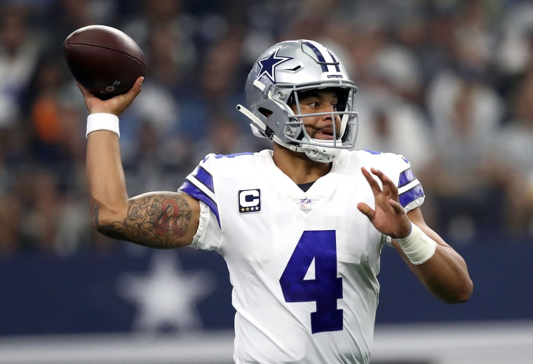 Image: Dak Prescott #4 of the Dallas Cowboys looks to pass against the Detroit Lions in the first quarter of a game at AT&T Stadium