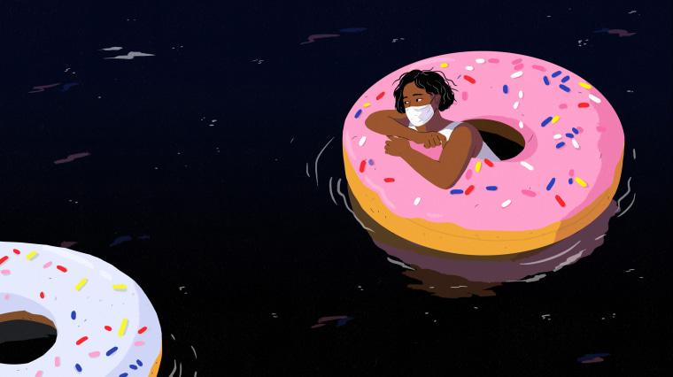 Illustration of woman wearing mask in donut floatie.