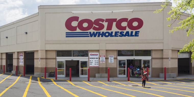 Entrance to large Costco warehouse superstore in Manassas, Virginia, USA