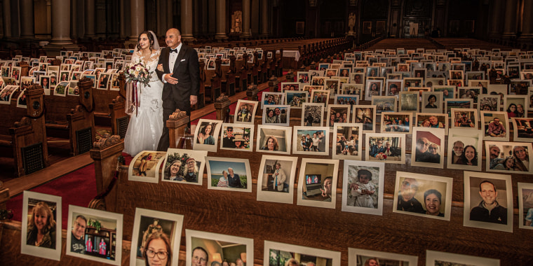 Emily Khachi walked down the aisle alongside pews filled with pictures.