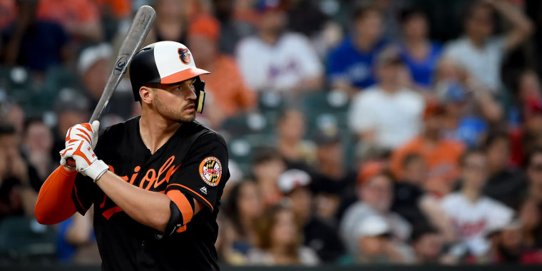 Trey Mancini of the Baltimore Orioles at bat at Camden Yards in Maryland on Aug. 2, 2019.