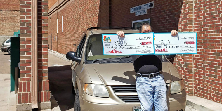 """""""Joe B"""" from Pueblo, Colo., claims the two $1 million Powerball prizes he won on March 25."""