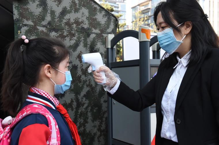 A student wearing a face mask  in Chongqing, China.
