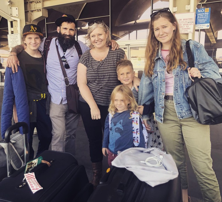 Janelle Hanchett with her husband, Mac, and their children, Ava, 18, Rocket, 14, George, 9, and Arlo, 5.
